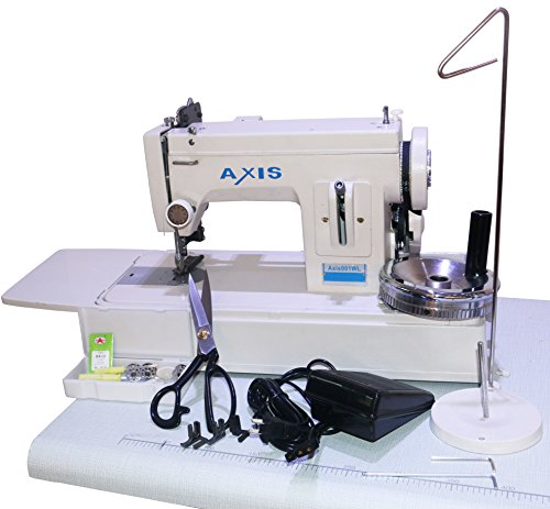 AXIS Straight Stitch Walking Foot Leather Upholstery Sewing Machine Power To Sew Sailcloth Heavy Canvas Denim Light Leather Upholstery Fabrics – Handheld Plus Speed Foot Controller AXIS001WL
