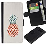 UPPERHAND ( Not For S6 EDGE ) Stylish Image Picture Black Leather Bags Cover Flip Wallet Credit Card Slots TPU Holder Case For Samsung Galaxy S6 SM-G920 - pineapple polygon minimalist weed