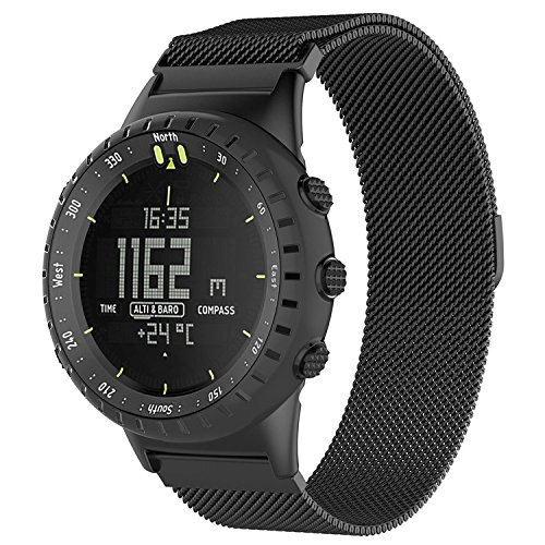 QGHXO Metal Band For Suunto Core, Milanese Loop Metal Watch Band with Unique Magnet Lock for Suunto Core Smart Watch, Fits 5.8-9.5 (147mm-241mm) Wrist