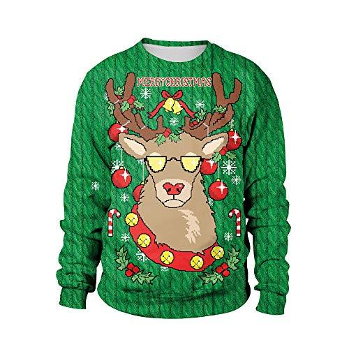 clearance sale!!ZEFOTIM Womens Christmas Snowflake Elk Print Long Sleeves Tops Sweatshirts Blouse(Large,Green) ()