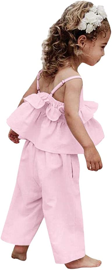 Infant Toddler Kids Baby Girls Solid Color Ruffle Tops T-Shirt+Pants Outfits Clothes Set