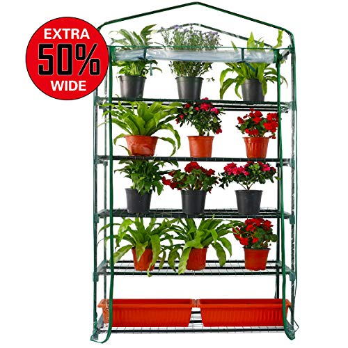 [Upgraded Widen] Worth Garden 5-Tier Widen Greenhouse with PVC Cover Plant Flower Grow Tent Outdoor Zipper Roll Up Front…
