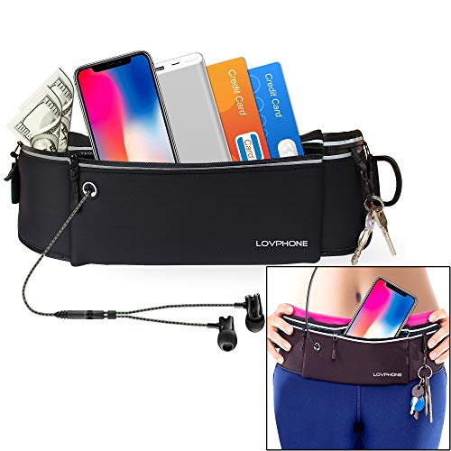 LOVPHONE Running Belt Waist Pack for iPhone X 8 7 6 5S Plus, Samsung Note 8, Idea for Cycling, Walking, Hiking, Fitness, Outdoor Sports