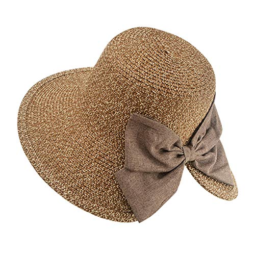 Yidarton Womens Summer Sun Hat Floppy Wide Brim Foldable Bowknot Outdoor Beach Straw Hat UPF50+