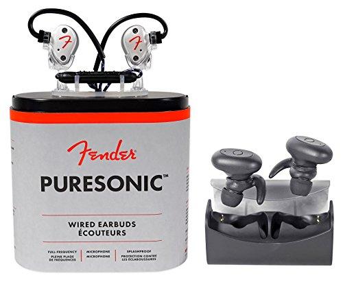 FENDER PureSonic Pearl Wired in-Ear Headphones w/Mic+TRuRock Wireless Earbuds