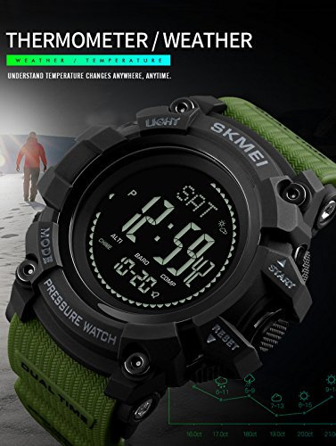 メンズ高度計バロメーターコンパスデジタルアウトドアスポーツ腕時計Fitness歩数計活動トラッカー