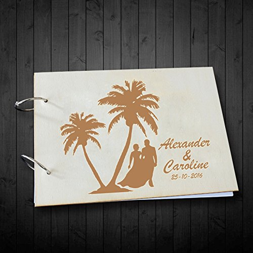 Palm Tree and Bride and Groom Silhouette Wedding Guest Book Alternative Hard Paper Surface Wedding Photo Albums Scrapbook 8 x 12 inches with Personalized Name and Date