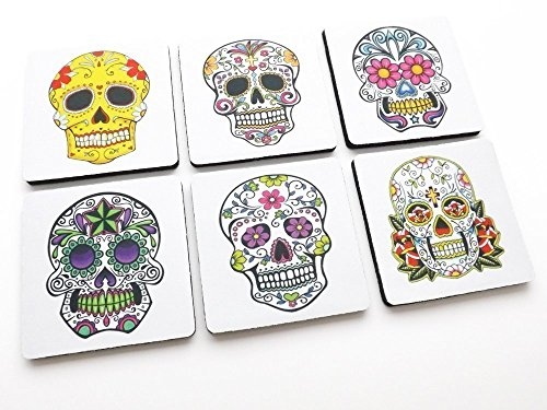 Day of the Dead drink Coasters sugar skulls calavera Halloween holiday home decor hostess -