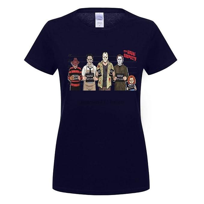 Usual Suspects Halloween Camiseta Top Chucky Freddy Krueger Zombie Jason Blood Top tee Humor Mujer Camisetas Cuello Redondo: Amazon.es: Ropa y accesorios