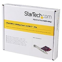 StarTech.com USB C PCIe Card – 2 Port USB-C – UASP – SATA Power Connector – 10Gbps – USB Type C PCIe Card – UBC Expansion Card
