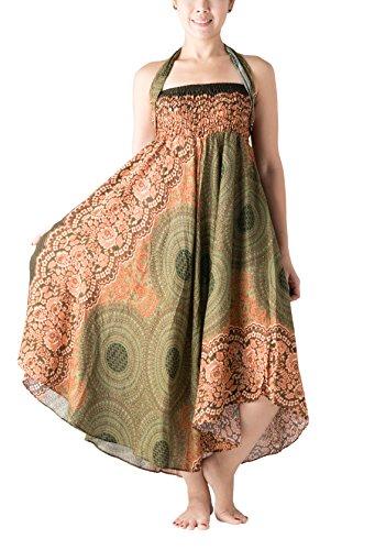 Bangkokpants Women's Long Hippie Bohemian Skirt Gypsy Dress Boho Clothes Flowers One Size Fits (Green, One Size)