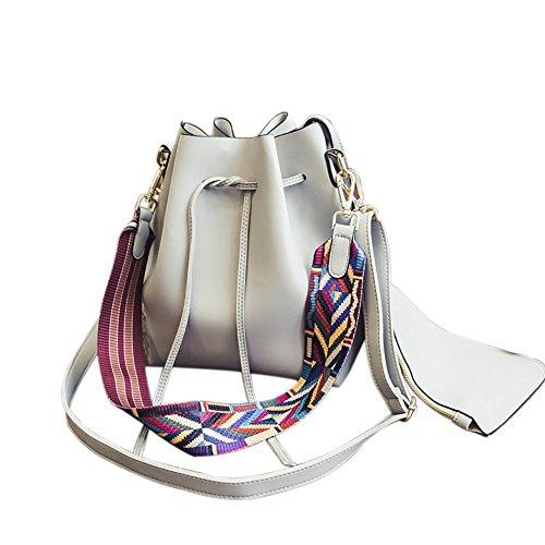 With Colorful Drawstring Purse Bucket PU Shoulder Grey Strap Leather Bag Crossbody Bag Bag Women's qwPTvw
