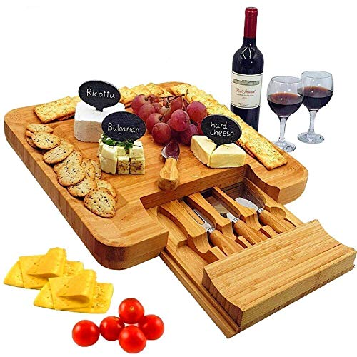 Bamboo Cheese Board & Cutlery Set with Slide-Out Drawer, 4 Stainless Steel Knife, Wood Platter & Serving Tray. Includes 3 Label & Chalk, Unique Gift Idea for Mom, Wedding Day, Engagement and Birthday
