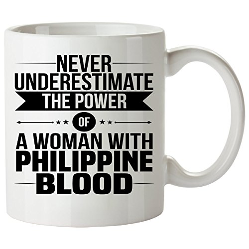 Never Underestimate PHILIPPINE Coffee Mug 11 Oz - Good Gifts for Girls - Unique Coffee Cup - Decor Decal Souvenirs Memorabilia