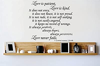 Design with Vinyl OMG 681-113 Decor Item Decal Vinyl Wall Sticker Love is Patient Love is Kind it Does Not Envy, It. 1 Corinthians 13 4 8 Quote, 18-Inch x 18-Inch, Black