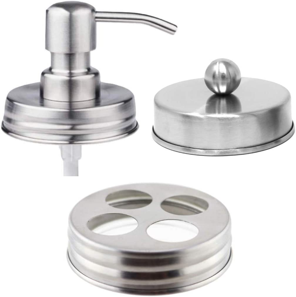 The Southern Jarring Co. Mason Jar Bathroom Accessories Lid Set - Jars NOT Included - Soap Dispenser, Toothbrush Holder, and Apothecary Lids for Regular Mouth Mason Jars (Brushed Stainless Steel)
