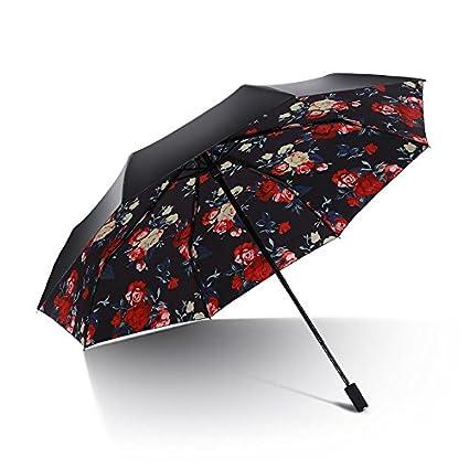 Paraguas plegable automatico Mujer niño Hombre an- Plástico Negro de la protección Solar Anti-