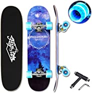 """Hipoten Skateboard - 32"""" Complete 8-Layer Canadian Maple Wood Tricks Professional Skateboard with Upgrade"""