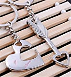"OrliverHL Keychain Keyring Couples - Arrow & ""I Love You"" Heart & Key -Valentine's Day / Birthday / Christmas /Wedding anniversary Present Gift"