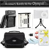 Accessories Bundle kit For Olympus XZ-1 SZ-10 SZ-20 SZ-30MR, SP-810UZ SZ-11, TG-860, TG-870 Digital Camera Includes Extended (1000maH) Replacement LI-50B Battery + Ac/Dc Charger + Carrying Case + More