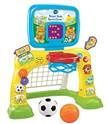 Shoot, score and learn with the smart shots sports center by VTech. Toss the basketball into the hoop to score points or kick the Soccer ball into the net to hear fun sounds. Press buttons, turn gears and flip pages to learn about shapes, numbers and...