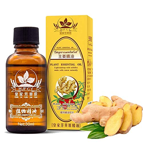 Ginger Massage Oil,100% Pure Natural Lymphatic Drainage Ginger Oil,SPA Massage Oils,Repelling Cold Promote Blood Circulation Relieve Muscle Soreness and Relaxing Active Oil 30ml