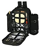 Search : Plush Picnic - 2 Person Picnic Backpack with Cooler Compartment, Detachable Bottle/Wine Holder, Fleece Blanket, Plates and Cutlery Set