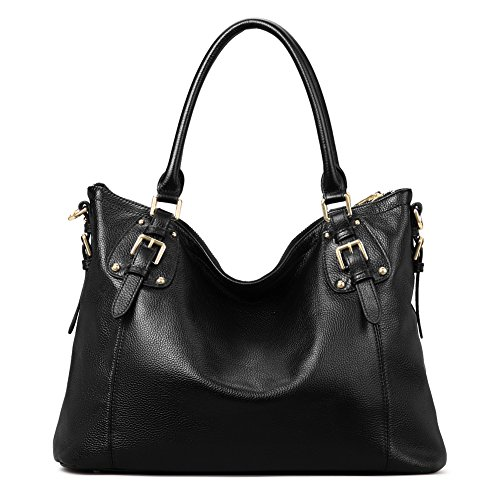 Kattee Women's Vintage Genuine Leather Tote Shoulder Bag (Black, Large)