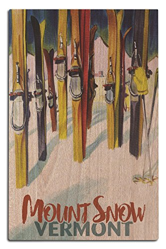 Mount Snow, Vermont - Colorful Skis (12x18 Wood Wall Sign, Wall Decor Ready to (Water Ski Wood Sign)