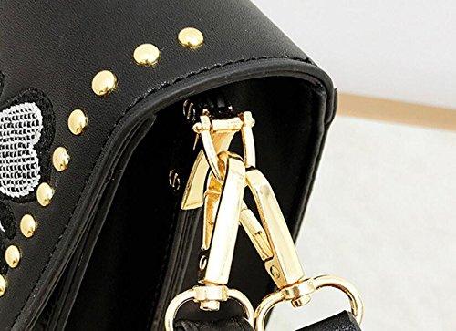 l'été brodé de l'atmosphère mode bandoulière de des à de sac petit sac sac de femmes tout Black fête la Fourre T76qw
