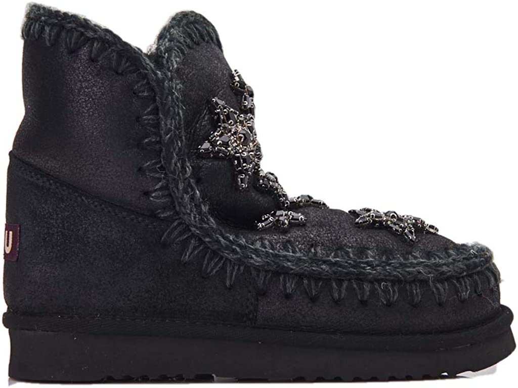 Mou Eskimo 18 Crystal Stars Black Sheepskin Ankle Boots with Crystals 518Q1oUjz5L