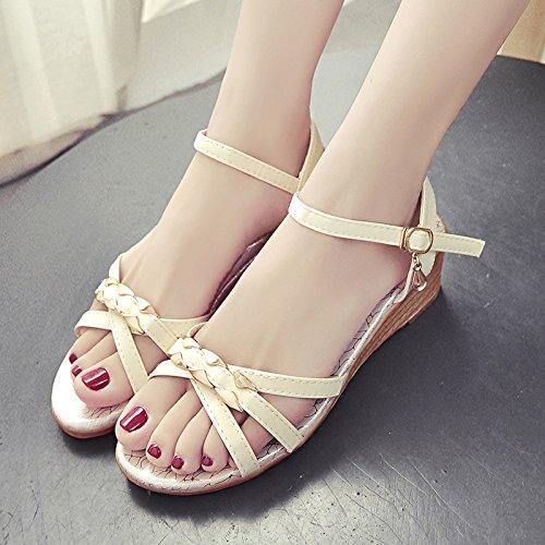 RUGAI-UE Sandalias planas de Verano Mujer Zapatos Bohemibeach Slip Beige