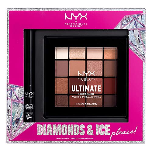 NYX PROFESSIONAL MAKEUP Gift Set, Diamonds & Ice Shadow And Liner Set – Matte Liquid Eyeliner + Ultimate Shadow Palette…