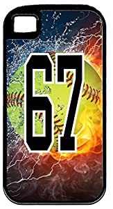 Flaming Softball Sports Fan Player Number 67 Black Rubber Decorative iPhone 5/5s Case