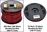 GS Power 18 Ga Gauge 200 Feet CCA Copper Clad Aluminum Red/Black Bonded Zip Cord Speaker Cable for Model Train Car Audio Radio Amplifier Remote Trailer Harness Home Theater LED Light Wiring