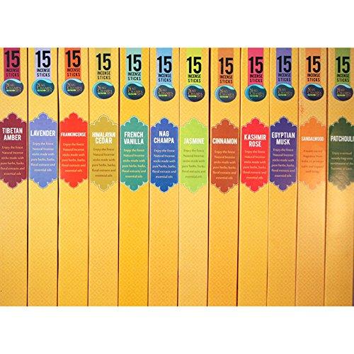 Incense Sampler (Nag Champa Spa Incense Popular Fragrances Sampler - 12 Boxes (15 Sticks Ea) Nag Champa, Sandalwood, Patchouli, Lavender, Jasmine, Frankincense, Himalayan Cedar, French Vanilla, Egyptian Musk, Kashmir Rose & Cinnamon)