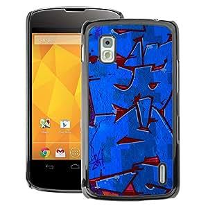 A-type Arte & diseño plástico duro Fundas Cover Cubre Hard Case Cover para LG Nexus 4 E960 (Red Blue Street Gang Wall Paint)