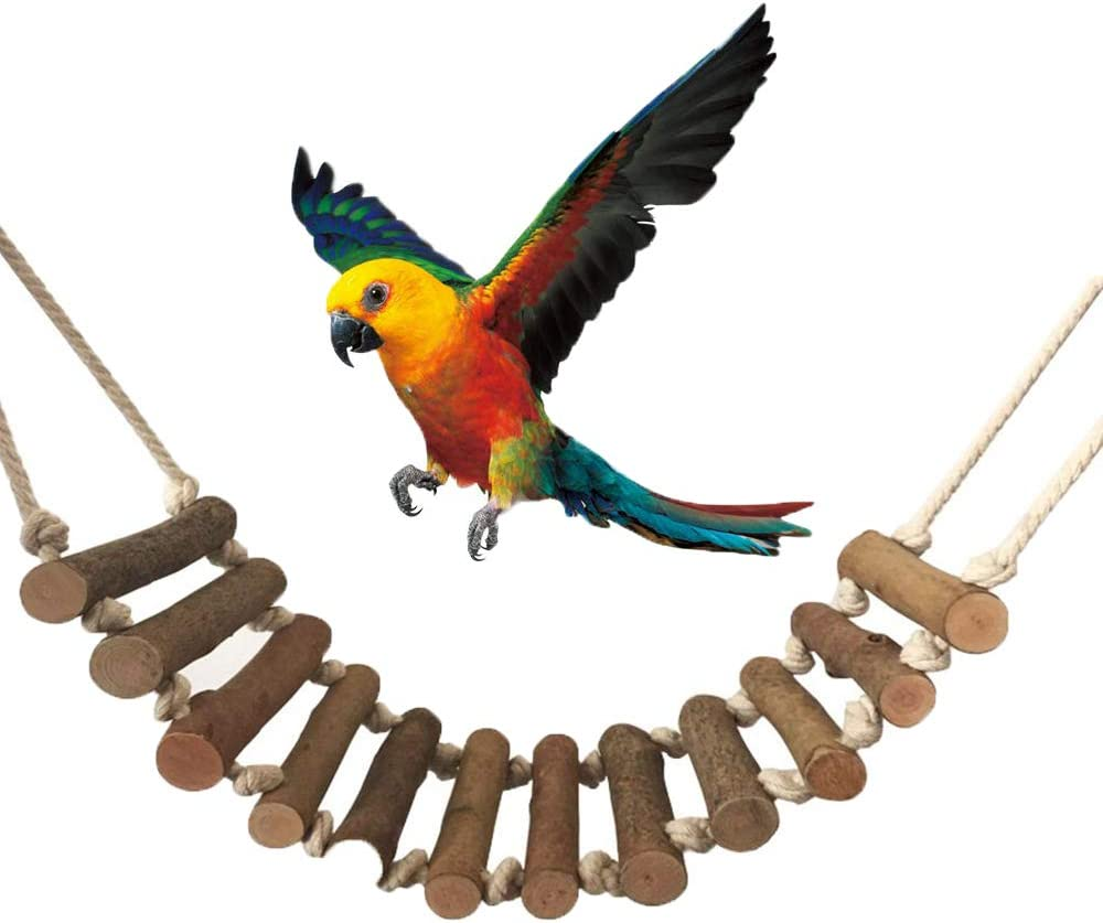 inherited Ave Escalera Columpio, Juguete de Pajaros de Pájaros Madera Natural de Juguete para periquitos, Loros(55 * 10cm) Que cuelga la Perca Juguete para pequeños y medianos Loros de Aves: Amazon.es: Productos