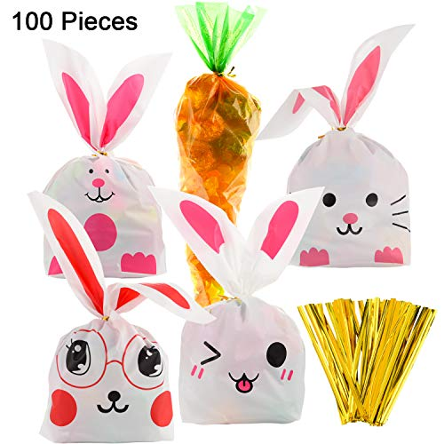 ter Cellophane Carrot-Shaped Bags and Bunny Goody Bag Candy Gift Wrap Bags with 100 Pieces Twist Ties for Party Favors Suppl (Color Set B) ()