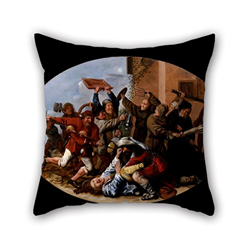 16 X 16 Inch / 40 By 40 Cm Oil Painting Molenaer, Jan Miense - Battle Between Carnival And Lent Pillowcase ,two Sides Ornament And Gift To Kids,indoor,home Theater,father,wife,car Seat