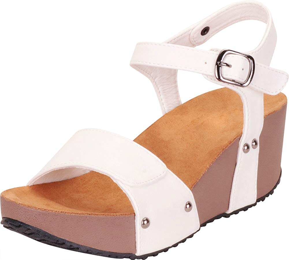 White Pu Cambridge Select Women's Open Toe Slingback Chunky Platform Wedge Sandal
