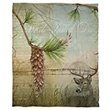1 Piece 60 X 80 Inch Lodge Deer Coral Multi Color Fleece Throw Blanket For Kids, Beautiful Artistic Design Animal Tree Nature Themed Wildlife Green Brown, Luxury Plush Blanket Casual Modern Polyester