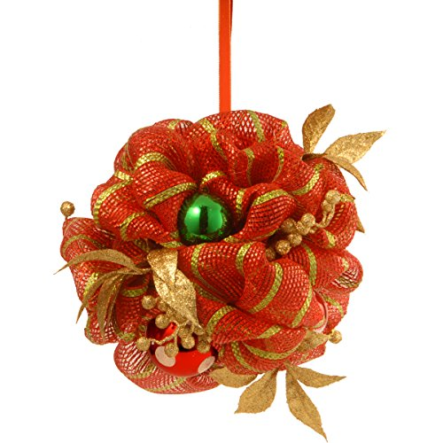 National Tree 12 Inch Decorative Collection Kissing Ball with Red Ribbon, Ball Ornaments and Gold Berries - Holiday Decoration Ball Kissing Christmas
