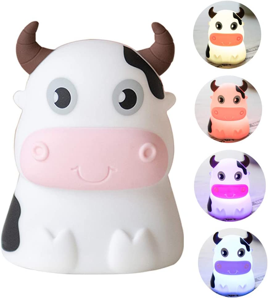 Night Light for Kids, AVEKI Portable Tap Control Rechargeable Nightlight Lamp , Color Changing, Silicone Cute Muti Color Cow Night Lamp Bedroom Decor for Infant or Toddler (Cows-USB)
