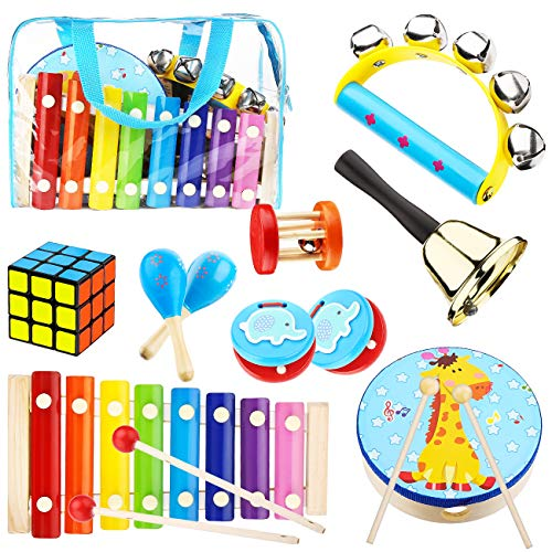 Kids Musical Percussion Instruments Set Wooden Musical Toys For Toddlers Babies Rhythm Instruments 1 2 3 4 5 6 Years Old Children Educational Music Gift (Toddler Toys Instruments)