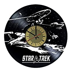 Star Trek Ornament Design Art Decor Vinyl Record Wall Clock - gift idea for girls boys sister and brother - home & office bedroom nursery room wall decor - customize your clock