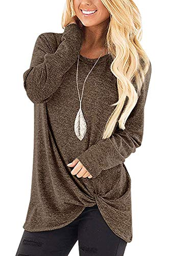 Sieanear Womens Tops Long Sleeve Casual Twist Knot Tunic Shirts Coffee S