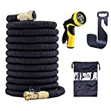 Lifecolor 50' Expanding Hose Stretch Hosepipe, 9 Functions Sprayer, Strongest Expandable Garden Hose With Double Latex Core, Solid Brass Connector and Extra Strength Fabric for Car Garden Hose Nozzle