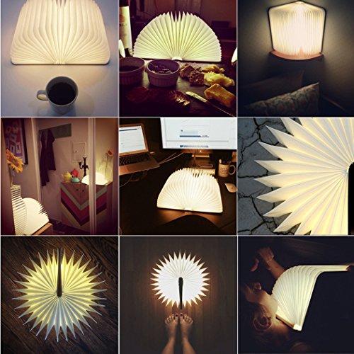 Homdox Folding Portable LED Book Light Lamp Wooden USB Rechargeable Magnetic Nightlight Booklight, 500 Lumens ( Warm Light )