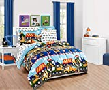 Elegant Home Multicolor Construction Site Equipment Trucks Tractors Design 5 Piece Comforter Bedding Set for Boys/Kids Bed in a Bag with Sheet Set # Construction Trucks (Twin Size)
